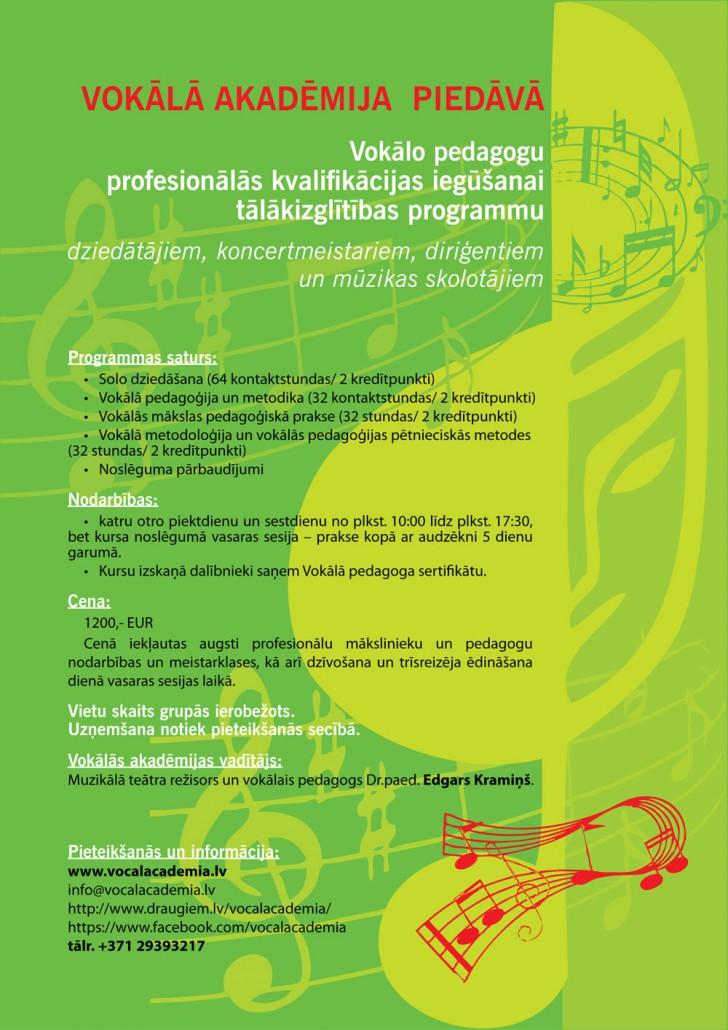 Vocal Academia VOKĀLO PEDAGOGU PROFESIONĀLĀS KVALIFIKĀCIJAS TĀLĀKIZGLĪTĪBAS PROGRAMMA